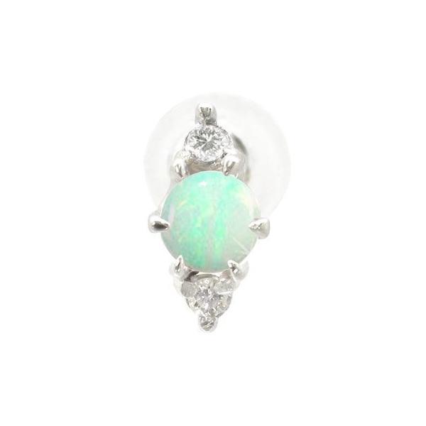 プラチナ ピアス ダイヤモンド オパール pt900 メンズ 片耳 10月誕生石 ダイヤ 男性 宝石 ファーストピアス 送料無料