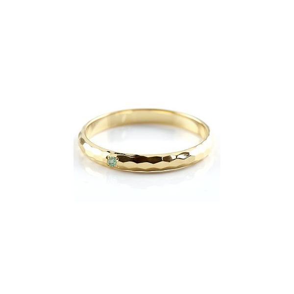 ストレート マリッジリング 甲丸 結婚指輪 ペアリングエメラルド イエローゴールドk18 人気 18金 結婚式 シンプル メンズ レディース 宝石 クリスマス 女性