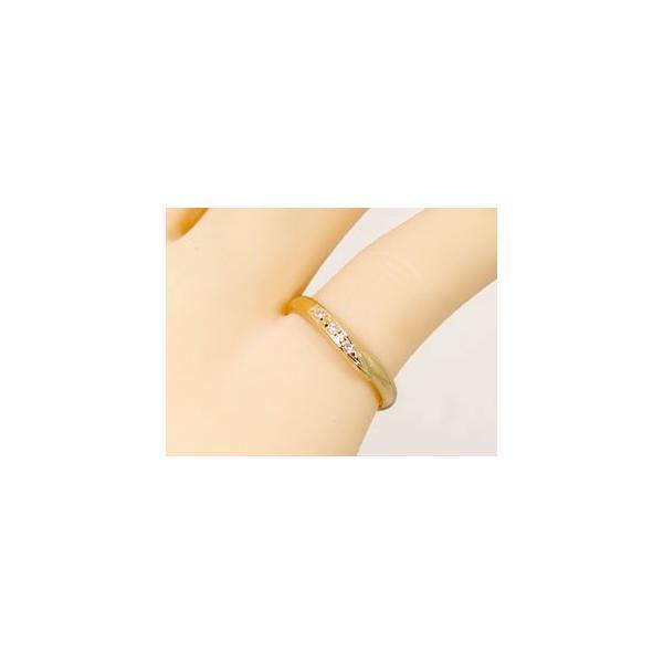 甲丸 結婚指輪 ペアリング ダイヤモンド イエローゴールドk18 結婚式 18金 ダイヤ カップル 2.3 クリスマス 女性