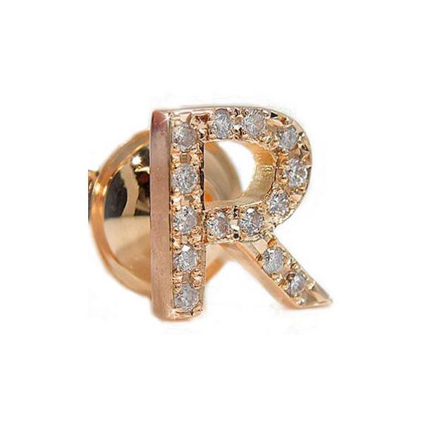 ピンブローチ イニシャルブローチ R ダイヤモンド ラペルピン ダイヤ ピンクゴールド 18金 タックピン 秋 冬 クリスマス 女性