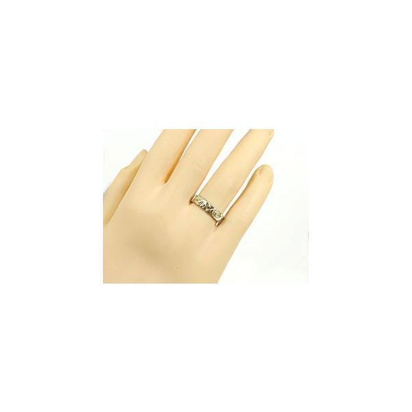 ピンキーリング ハワイアンジュエリー ブラックダイヤ 指輪 イエローゴールドK18 手彫りハワイアンリング 一粒 18金 k18yg ストレート 母の日