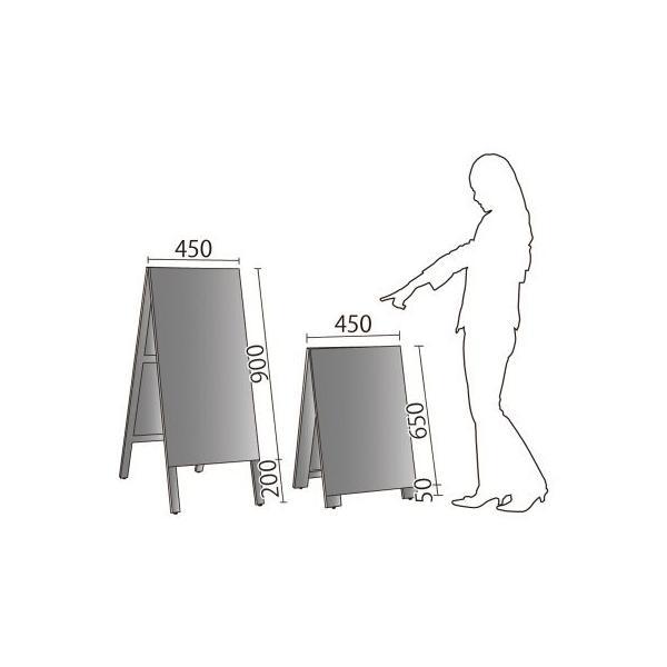 A型看板 (中) 木製 カラー黒板 ブラック (両面 チョーク用) 立て看板 置き看板 店舗用 WA450K|atta-v|02