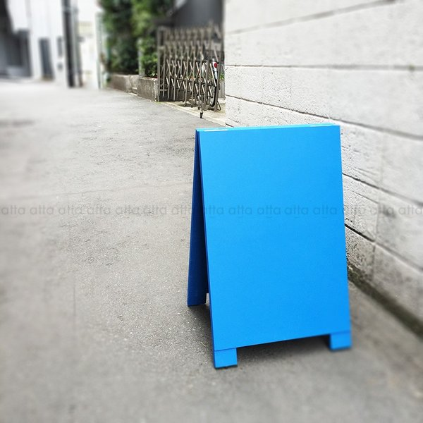 A型看板 (小) 木製 カラー黒板 ブルー (両面 チョーク用) 立て看板 置き看板 店舗用 WA60BS|atta-v