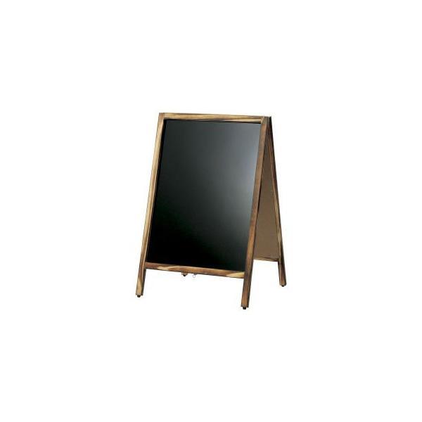 A型看板 (小) 焼杉枠 ブラックボード 木製 両面 マーカー用 ABS-61B 立て看板 置き看板 店舗用|atta-v