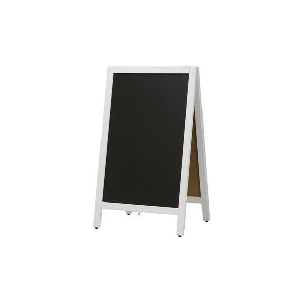 A型看板 (中) 白枠 黒板 木製 両面 チョーク用 ABS-76WC 立て看板 置き看板 店舗用|atta-v