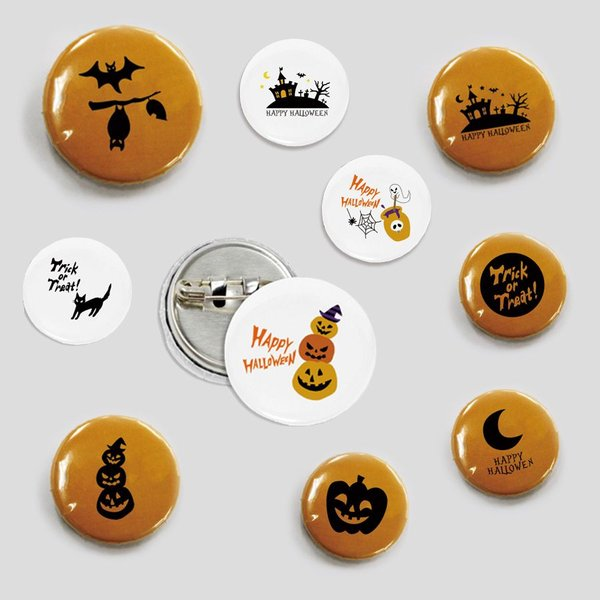 ハロウィン 缶バッジ (直径 31mm) デザイン全10種類 イラスト (かぼちゃ 猫 おばけ コウモリ 等) ハロウィングッズ 雑貨
