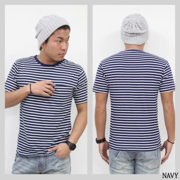 ボーダー Tシャツ メンズ 胸ポケット カットソー TEE 半袖 アメカジ ストリート系 ファッション かっこいい|attention-store|05