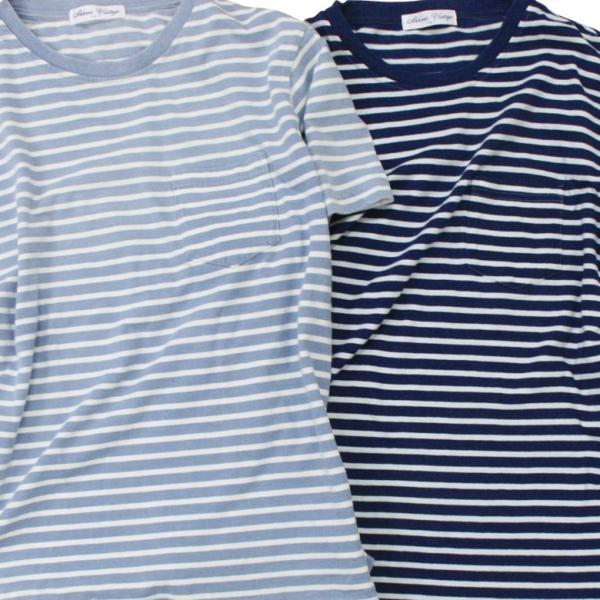 ボーダー Tシャツ メンズ 胸ポケット カットソー TEE 半袖 アメカジ ストリート系 ファッション かっこいい|attention-store|06