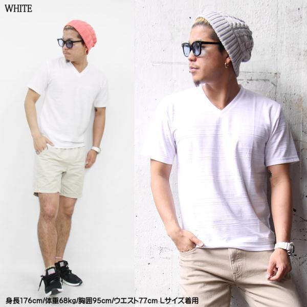 メンズ Tシャツ ジャガード ボーダー Vネック ホワイト ブラック ネイビー M L LL カジュアル ストリート ファッション|attention-store|03