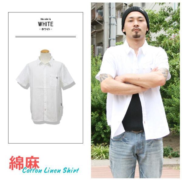 シャツ メンズ 綿麻 半袖 無地 リネンシャツ リアルコンテンツ REALCONTENTS 白 ホワイト 紺 ネイビー M L XL XXL ストリート系 ファッション|attention-store|04