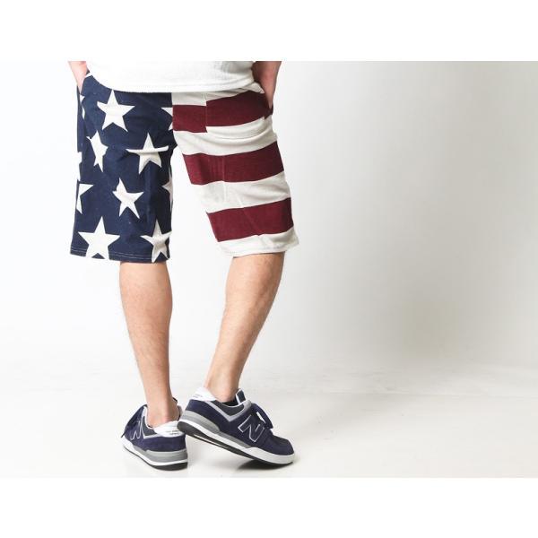 ショートパンツ メンズ ハーフパンツ ショーツ 短パン 半ズボン イージーパンツ ボーダー 総柄 星条旗 黒 ネイビー M L XL 2L LL 大きいサイズ|attention-store|06