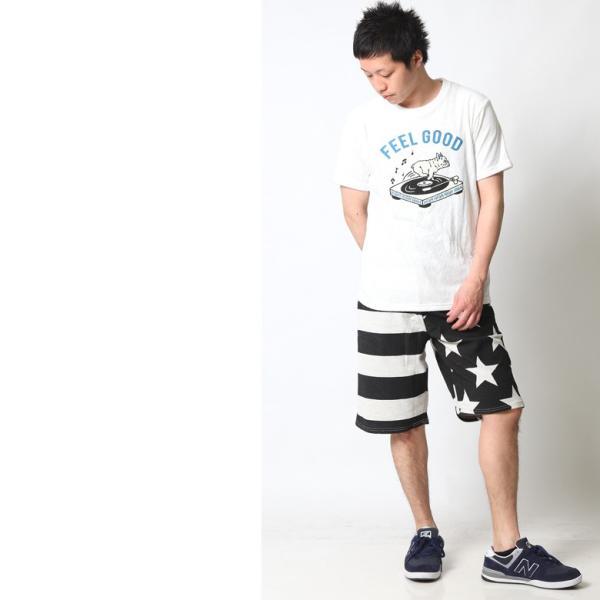 ショートパンツ メンズ ハーフパンツ ショーツ 短パン 半ズボン イージーパンツ ボーダー 総柄 星条旗 黒 ネイビー M L XL 2L LL 大きいサイズ|attention-store|08
