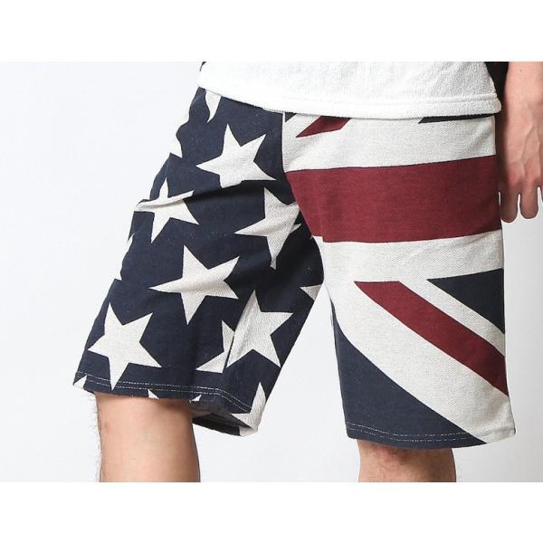 ショートパンツ メンズ ハーフパンツ ショーツ 短パン 半ズボン イージーパンツ ボーダー 総柄 星条旗 黒 ネイビー M L XL 2L LL 大きいサイズ|attention-store|10