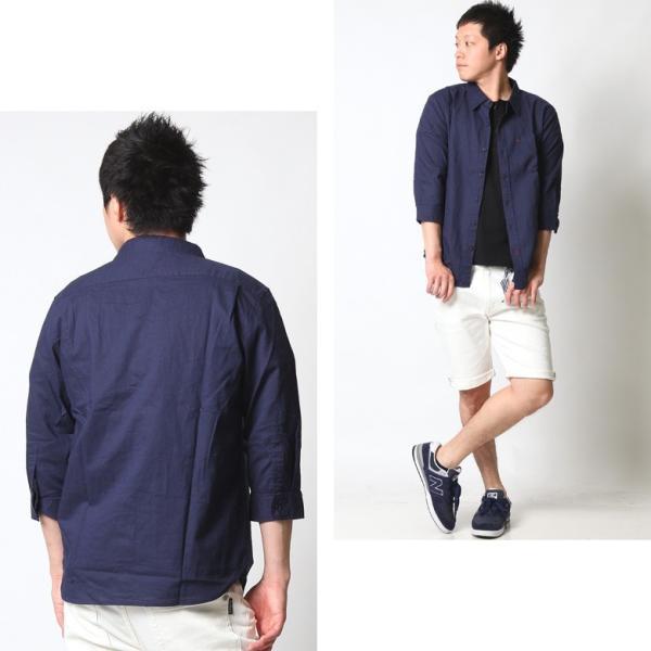 シャツ メンズ 綿麻 7分袖 カジュアルシャツ リネンシャツ リアルコンテンツ 白 ホワイト 紺 ネイビー M L XL XXL ストリート系 ファッション|attention-store|14