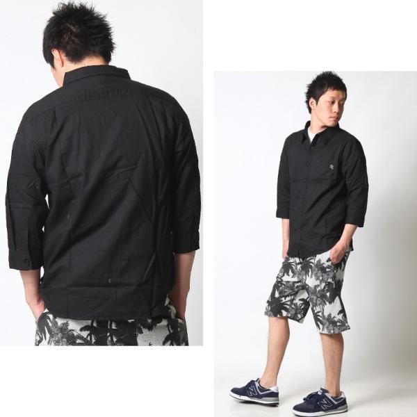 シャツ メンズ 綿麻 7分袖 カジュアルシャツ リネンシャツ リアルコンテンツ 白 ホワイト 紺 ネイビー M L XL XXL ストリート系 ファッション|attention-store|08