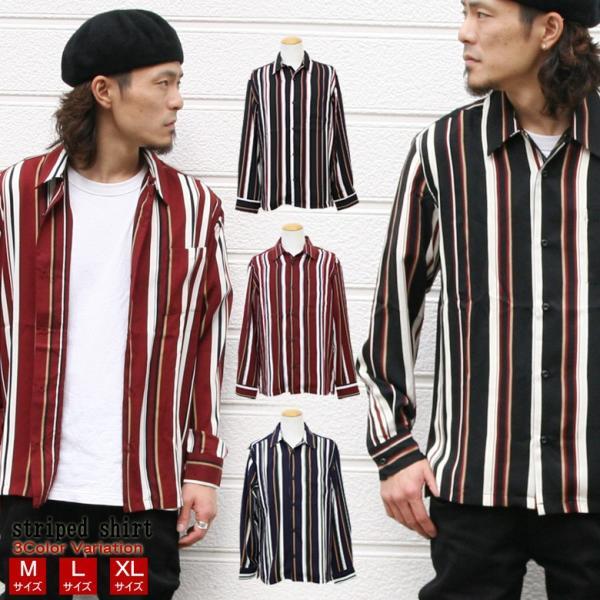 シャツ ストライプ メンズ 開襟 オープンカラー カジュアルシャツ ワークシャツ ストライプシャツ ブラック ネイビー ワイン  M L XL LL 長袖 attention-store
