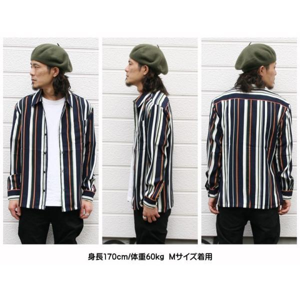 シャツ ストライプ メンズ 開襟 オープンカラー カジュアルシャツ ワークシャツ ストライプシャツ ブラック ネイビー ワイン  M L XL LL 長袖 attention-store 11