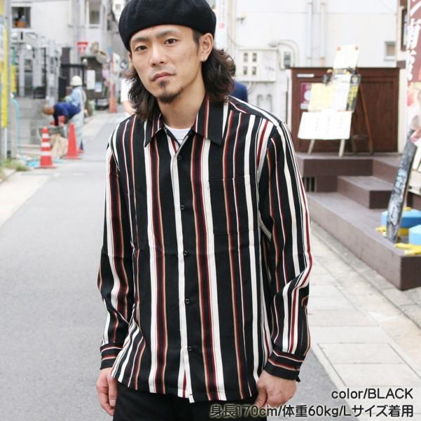 シャツ ストライプ メンズ 開襟 オープンカラー カジュアルシャツ ワークシャツ ストライプシャツ ブラック ネイビー ワイン  M L XL LL 長袖 attention-store 03