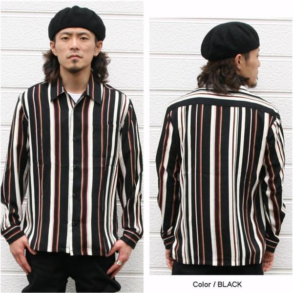 シャツ ストライプ メンズ 開襟 オープンカラー カジュアルシャツ ワークシャツ ストライプシャツ ブラック ネイビー ワイン  M L XL LL 長袖 attention-store 04