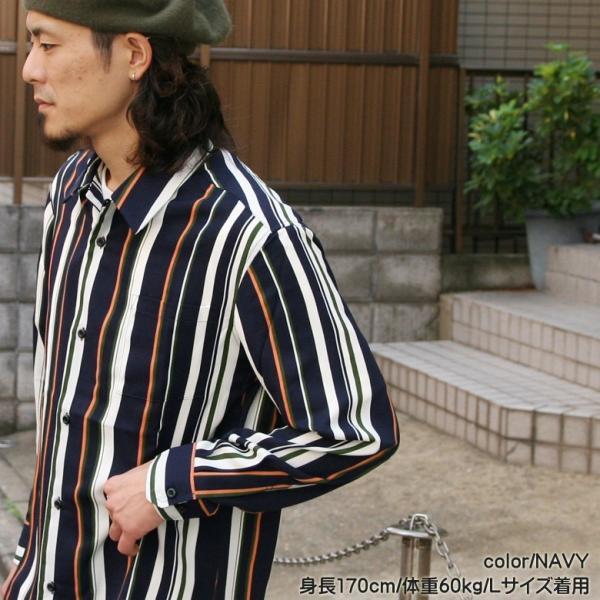 シャツ ストライプ メンズ 開襟 オープンカラー カジュアルシャツ ワークシャツ ストライプシャツ ブラック ネイビー ワイン  M L XL LL 長袖 attention-store 05