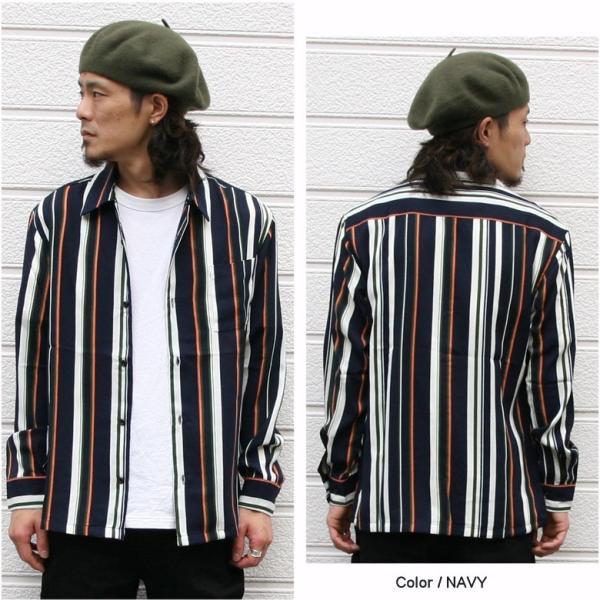 シャツ ストライプ メンズ 開襟 オープンカラー カジュアルシャツ ワークシャツ ストライプシャツ ブラック ネイビー ワイン  M L XL LL 長袖 attention-store 06