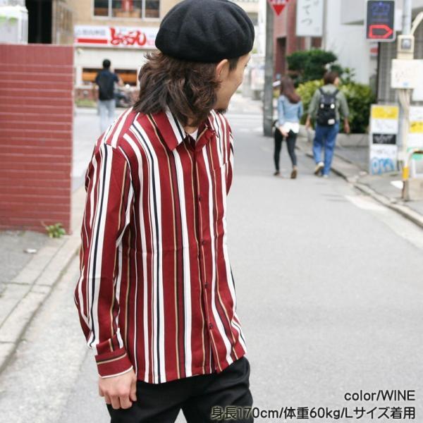 シャツ ストライプ メンズ 開襟 オープンカラー カジュアルシャツ ワークシャツ ストライプシャツ ブラック ネイビー ワイン  M L XL LL 長袖 attention-store 07