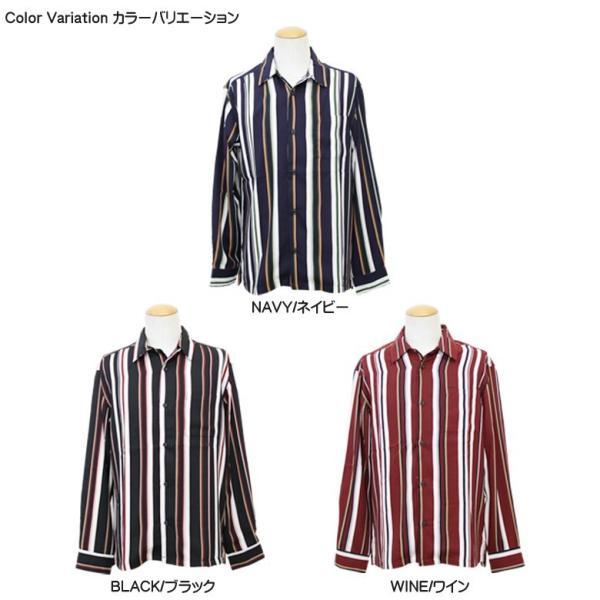 シャツ ストライプ メンズ 開襟 オープンカラー カジュアルシャツ ワークシャツ ストライプシャツ ブラック ネイビー ワイン  M L XL LL 長袖 attention-store 09