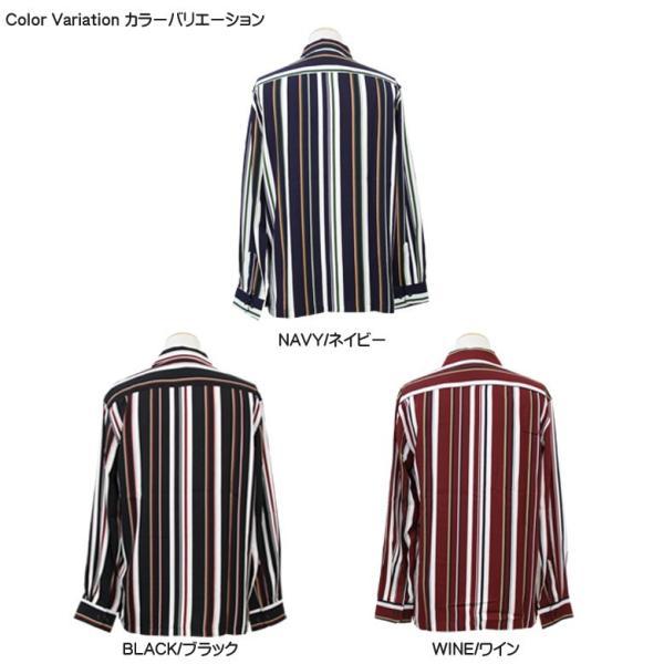 シャツ ストライプ メンズ 開襟 オープンカラー カジュアルシャツ ワークシャツ ストライプシャツ ブラック ネイビー ワイン  M L XL LL 長袖 attention-store 10
