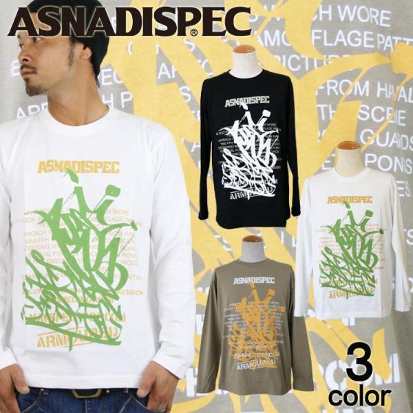 ロンT ストリート ブランド メンズ 長袖 Tシャツ プリント ASNADISPEC アスナディスペック ロゴ 大きいサイズ 新作 /3045/ attention-store