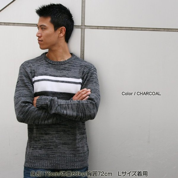 ボーダーニット メンズ 長袖 男女兼用 ニット ラインニット GROOOVE ON |attention-store|07