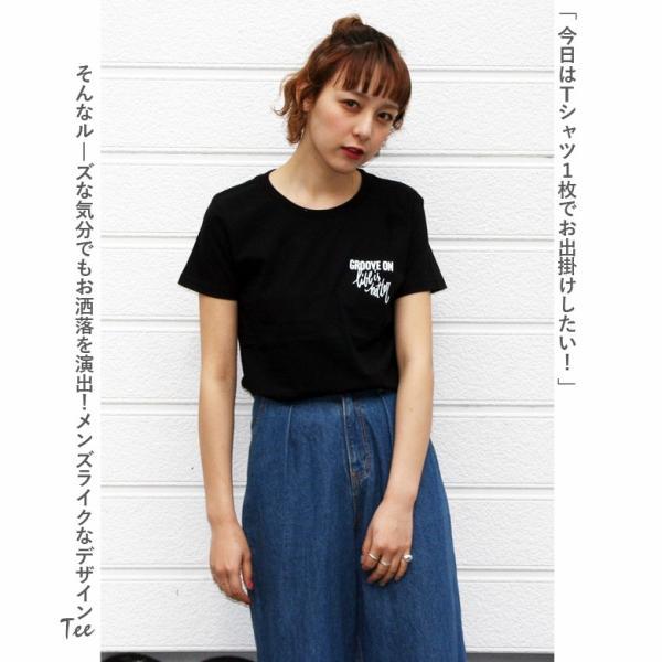 Tシャツ レディース 半袖 ティーシャツ TEE グルーブオン GROOVEON M L 黒 ブラック 白 ホワイト ルード系 ブランド アメカジ ストリート系 サーフ系 /3045/|attention-store|04
