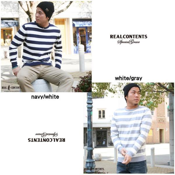 REALCONTENTS ニット メンズ 長袖 太ボーダー ボーダーニット リアルコンテンツ アメカジ ストリート系 ファッション M L LL|attention-store|02