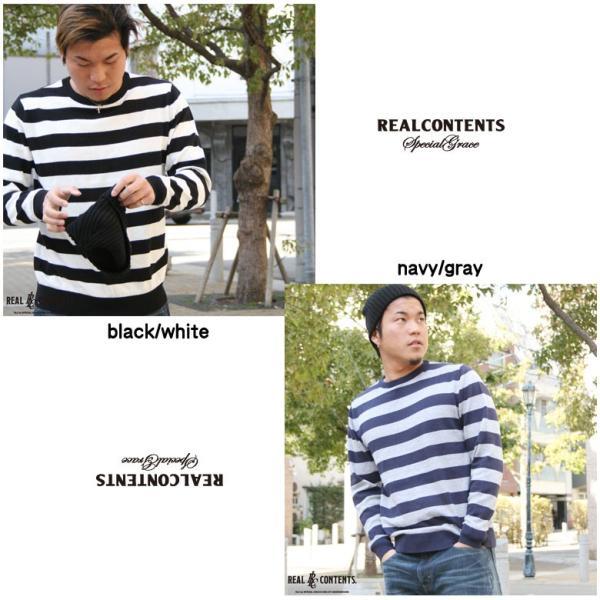 REALCONTENTS ニット メンズ 長袖 太ボーダー ボーダーニット リアルコンテンツ アメカジ ストリート系 ファッション M L LL|attention-store|03