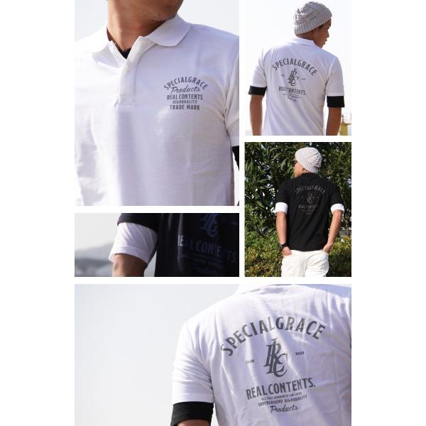ポロシャツ メンズ カノコポロ 5分袖 Tシャツ リアルレイヤード 2点セット リアルコンテンツ M L XL XXLストリート系 ファッション|attention-store|02