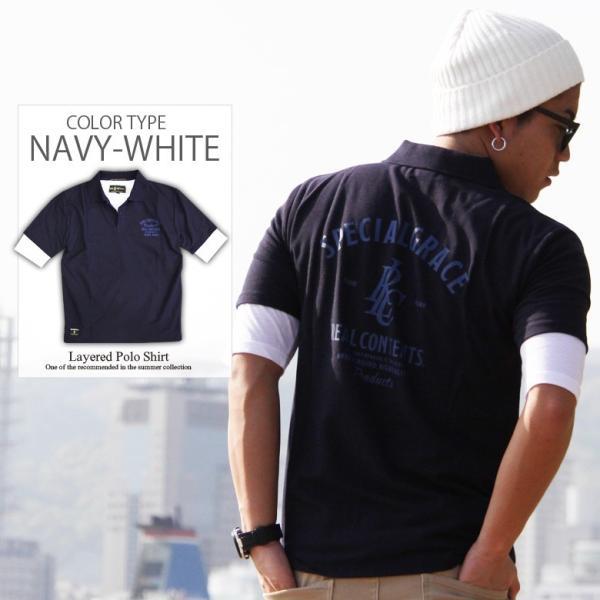 ポロシャツ メンズ カノコポロ 5分袖 Tシャツ リアルレイヤード 2点セット リアルコンテンツ M L XL XXLストリート系 ファッション|attention-store|14