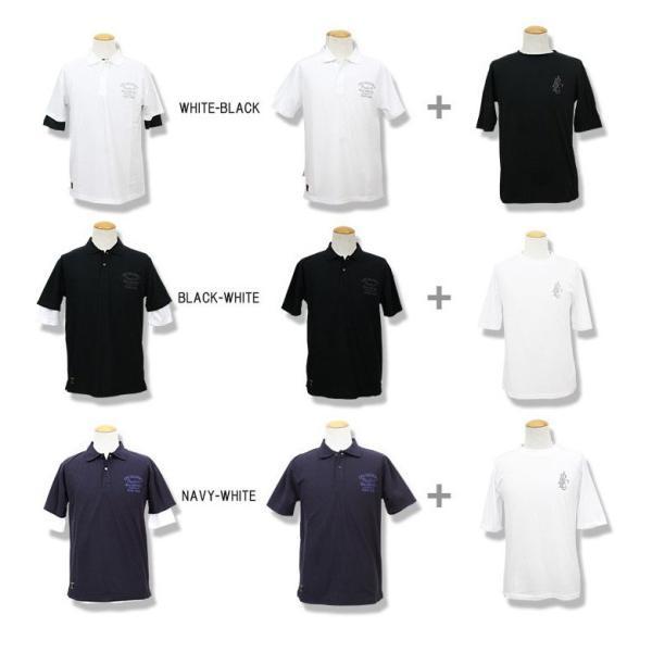 ポロシャツ メンズ カノコポロ 5分袖 Tシャツ リアルレイヤード 2点セット リアルコンテンツ M L XL XXLストリート系 ファッション|attention-store|19