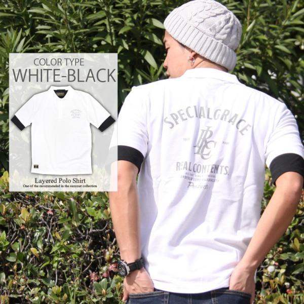 ポロシャツ メンズ カノコポロ 5分袖 Tシャツ リアルレイヤード 2点セット リアルコンテンツ M L XL XXLストリート系 ファッション|attention-store|10