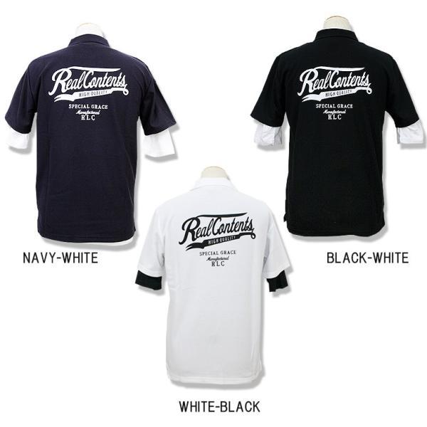 ポロシャツ メンズ カノコポロ 5分袖 Tシャツ リアルレイヤード 2点セット リアルコンテンツ M L XL XXLストリート系 ファッション|attention-store|03