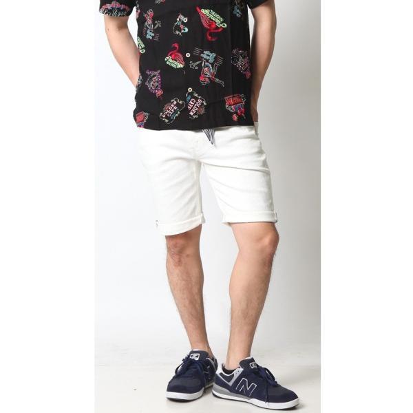 ホワイト メンズ ホワイトデニム ショートパンツ ハーフパンツ 白 ホワイト ショーツ ストレッチ アメカジ リアルコンテンツ ストリート系 ファッション|attention-store|09