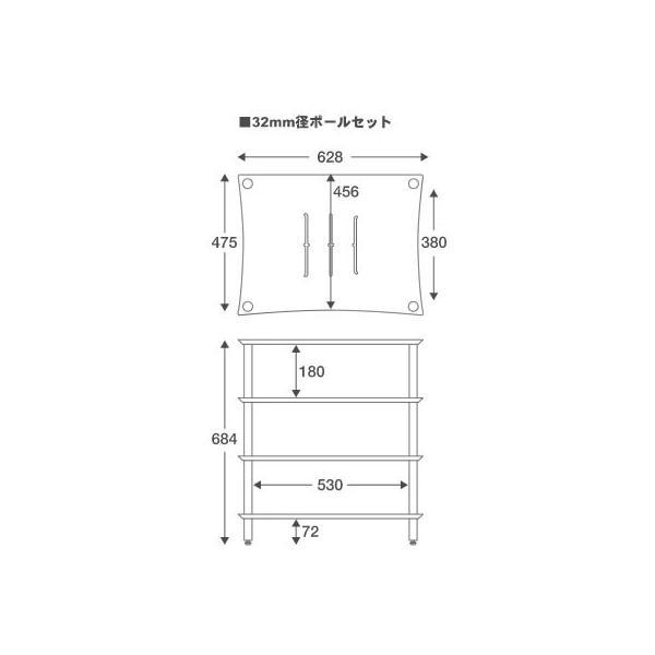 【代引き不可】QUADRASPIRE Q4WSL32B/OK(32mm径ブラックポール・棚板オーク) AVラック クアドラスパイア Q4WSLIT