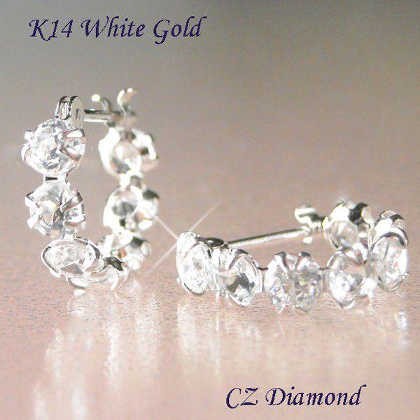 ピアス フープ k14 ホワイトゴールド CZダイヤモンド 四月誕生石 妻 彼女 レディース