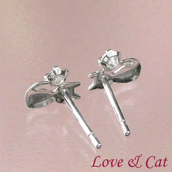 ダイヤモンドピアス 一粒 プラチナ 猫 レディース pt900 両耳 妻 彼女 プレゼント ギフト