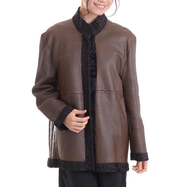 日本製スワカラリバーシブルジャケットコート マロン|auro