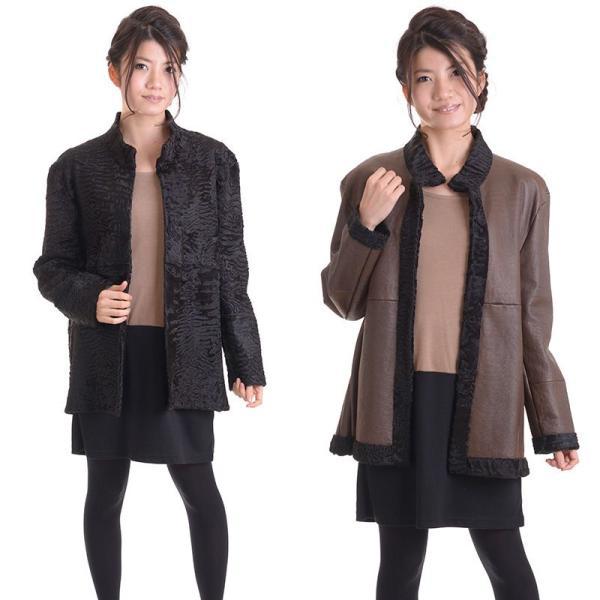 日本製スワカラリバーシブルジャケットコート マロン|auro|02