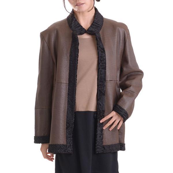 日本製スワカラリバーシブルジャケットコート マロン|auro|04