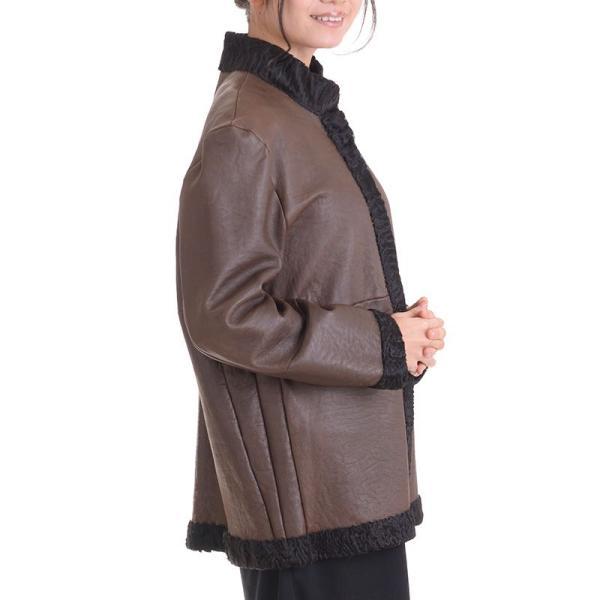 日本製スワカラリバーシブルジャケットコート マロン|auro|05