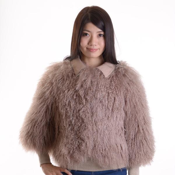 チベットラムファージャケット 毛皮コート アンバーピーチ|auro|02