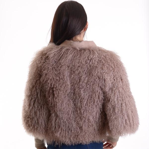 チベットラムファージャケット 毛皮コート アンバーピーチ|auro|04