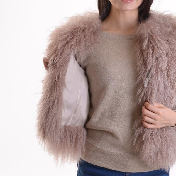 チベットラムファージャケット 毛皮コート アンバーピーチ|auro|05