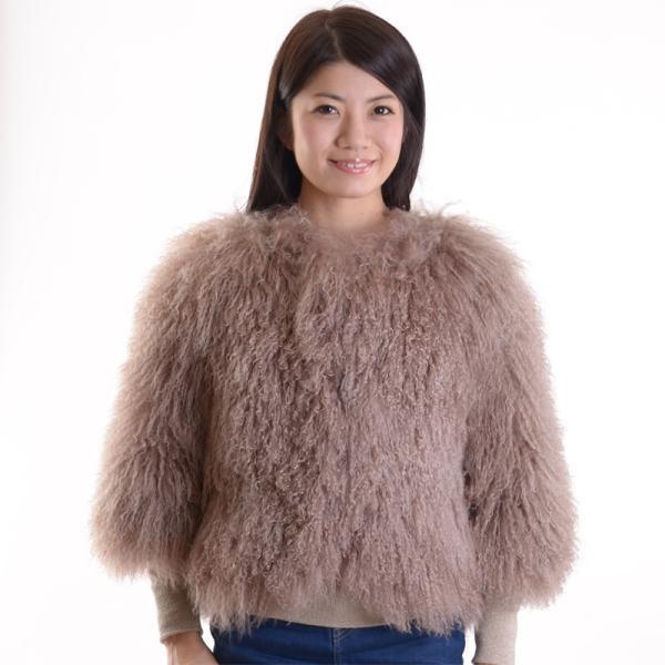 チベットラムファージャケット 毛皮コート アンバーピーチ|auro|06